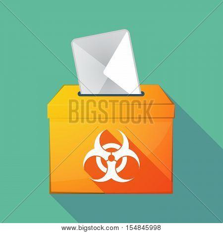 Long Shadow Coloured Ballot Box Icon With A Biohazard Sign