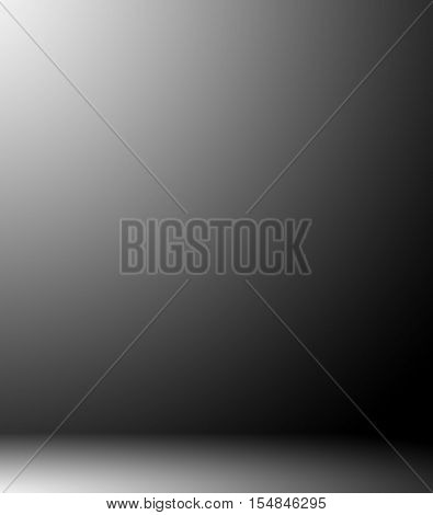 Abstract illustration background texture of beauty dark and light clear black, cold gray, snowy white and blue gradient flat wall, floor in empty spacious room winter interior