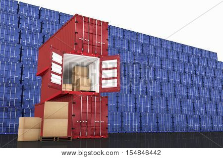 3D rendering : illustration of stacked red container with cardboard boxes inside the container against blue container wall in background. business export import concept.