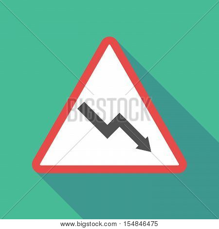 Long Shadow Triangular Warning Sign Icon With A Descending Graph