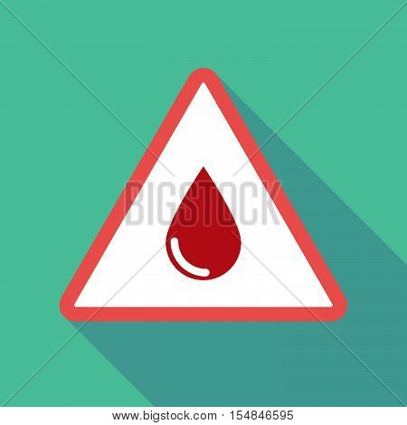 Long Shadow Triangular Warning Sign Icon With A Blood Drop