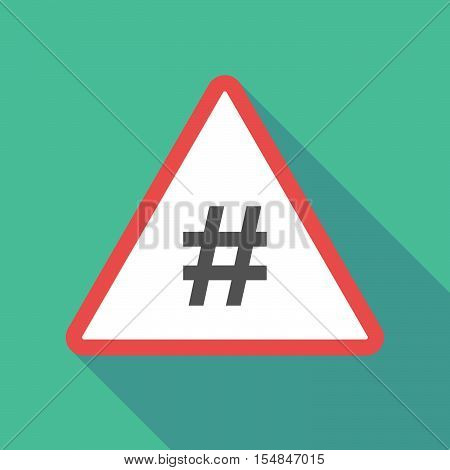 Long Shadow Triangular Warning Sign Icon With A Hash Tag