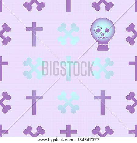 Seamless background with crossed bones and skull in the style of pastel goth in pink and purple tones.