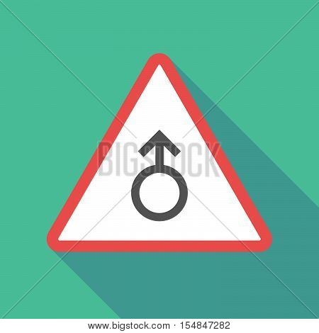 Long Shadow Triangular Warning Sign Icon With A Male Sign