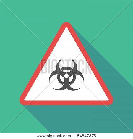 Long Shadow Triangular Warning Sign Icon With A Biohazard Sign
