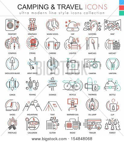Vector camping nature adventure ultra modern color outline line icons for apps and web design