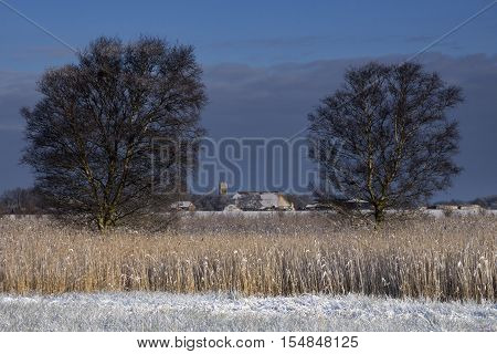 The church from the dutch village Wijckel in a snowcovered landscape visible through two trees