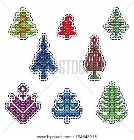 Vector Illustration of Ugly sweater Xmas Patches elements for Design, Website, background, Banner. Merry Christmas Knitted Retro Stickers with Christmas Tree Template
