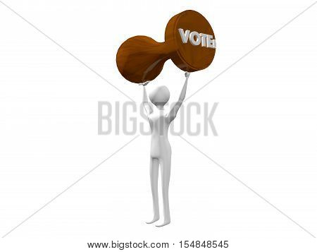 Vote! stamp 3d illustration made of wood, being held above somebody's head,as a concept of metaphor for people's activism, power and choice, isolated on white background.