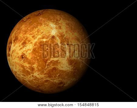 3D render the planet Venus on a black background high resolution