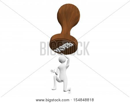 Vote stamp hanging menacingly over 3D man. Concept or metaphor for the burden of voting and choosing. Illustration or rendering isolated on white background