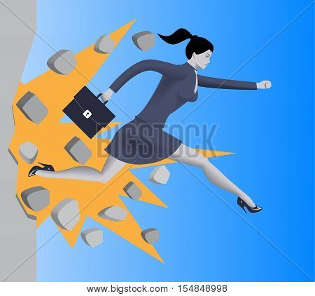 Breaking the wall business concept. Confident business woman in business suit with case runs and breaks the wall on her way to success. Motivation determination careerism effectiveness.