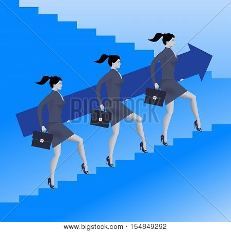 Women power business concept. Three confident business women in suits and with cases raising up the ladder holding big arrow. Team teamwork career opportunities and career ladder.