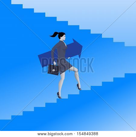 Raising up career ladder business concept. Confident business woman in suit and with case raising up the ladder holding big arrow. Career opportunities and career ladder. Vector illustration