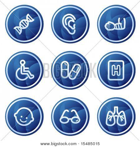 Medicine web icons set 2, blue circle buttons series