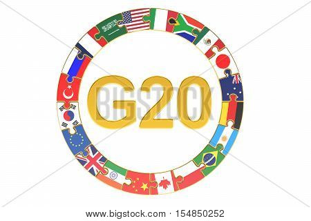 G20 concept 3D rendering isolated on white background
