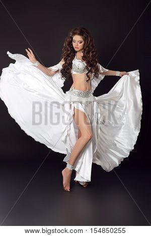 Dancing Woman Belly Dancer, Bellydance Ballerina, Arabian Beauty Female Isolated On Black Studio Bac