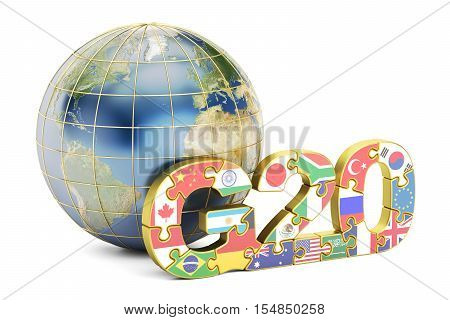 G20 concept with globe 3D rendering isolated on white background