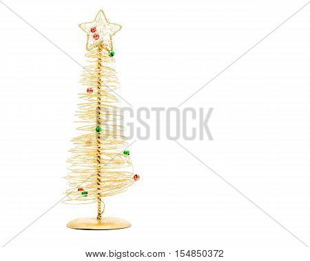 Stylized Christmas tree made with gold wore and covered in glitter.