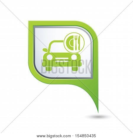 Car with meal icon on green map pointer, vector illustration
