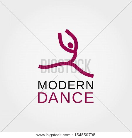 Dance icon concept. Modern dancing studio logo design template. Template for training class emblem banner background with symbol of abstract stylized dancer. Vector illustration.