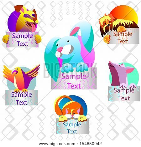 Pets with banners. It can be used as icons. Shown dog parrot cat mouse rabbit.