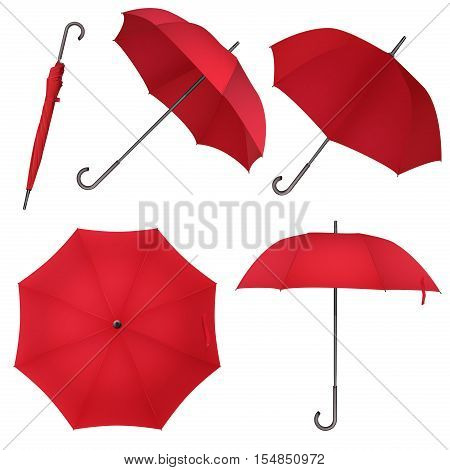 Red blank classic round rain Umbrella. Photo Realistic Umbrella vector illustration