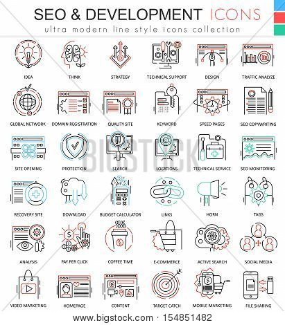 Vector SEO and development ultra modern color outline line icons for apps and web design