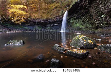Lady Falls waterfall on the river Afon Pyrddin near Pontneddfechan, South Wales, an area known as Waterfall Country