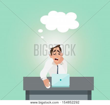 Businessman tired of the stress and sleeping on the job. Businessman multitasking on table. Flat style design vector illustration.