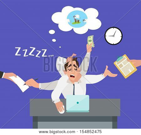 An employee with multitasking in the office count sheep in his sleep on table. Businessman tired of the stress and sleeping on the job. Flat style design vector illustration.
