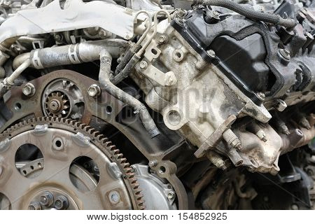 Car engine under repair in a car repair station
