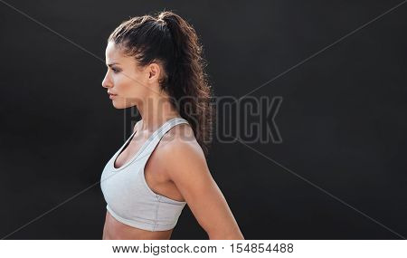 Fit Young Woman In Sports Bra