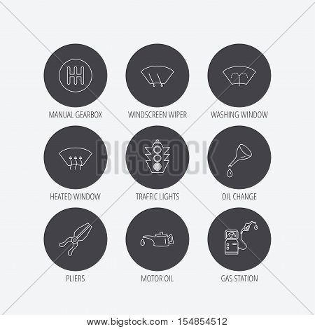 Motor oil change, traffic lights and pliers icons. Gas station, heated window and manual gearbox linear signs. Washing window icons. Linear icons in circle buttons. Flat web symbols. Vector