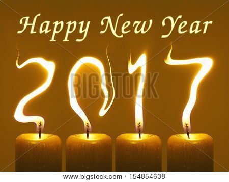 2017 - Happy New Year. Candle flames write numbers 2017, title Happy new year