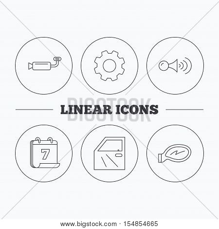 Car door, muffler and klaxon signal icons. Car mirror linear sign. Flat cogwheel and calendar symbols. Linear icons in circle buttons. Vector