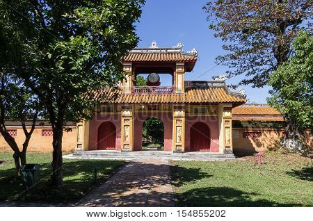 Gate with the drum Inside the citadel. Imperial Forbidden City. Hue Vietnam.