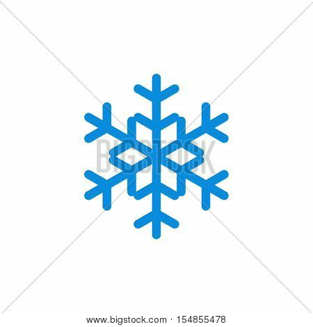 Snowflake icon. Blue silhouette snow flake sign isolated on white background. Flat design. Symbol of winter frozen Christmas New Year holiday. Graphic element decoration. Vector illustration
