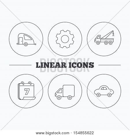 Car, delivery truck and evacuator icons. Travel van linear signs. Flat cogwheel and calendar symbols. Linear icons in circle buttons. Vector
