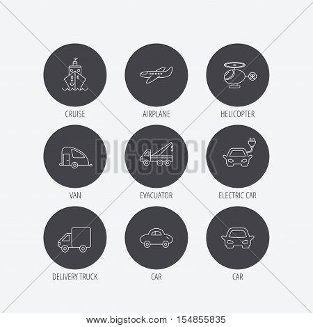 Transportation icons. Car, ship and truck linear signs. Airplane, helicopter and evacuator flat line icons. Linear icons in circle buttons. Flat web symbols. Vector