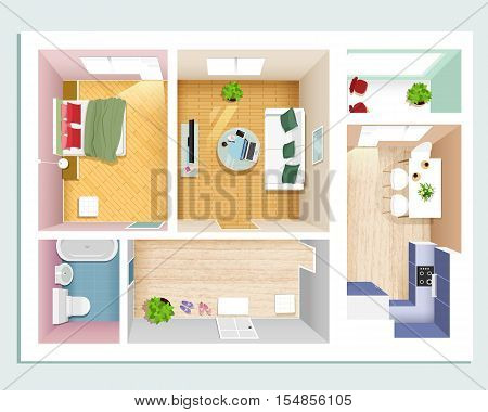 Modern graphic apartment top view: bedroom, living room, kitchen, hall and bathroom. Stylish flat room interiors set. Vector illustration.