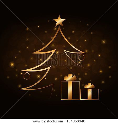 Happy New Year celebration abstract background with gold Xmas tree. Decorative golden gift box balls star. Simple sketch card greeting. Shine light Merry Christmas decoration. Vector illustration