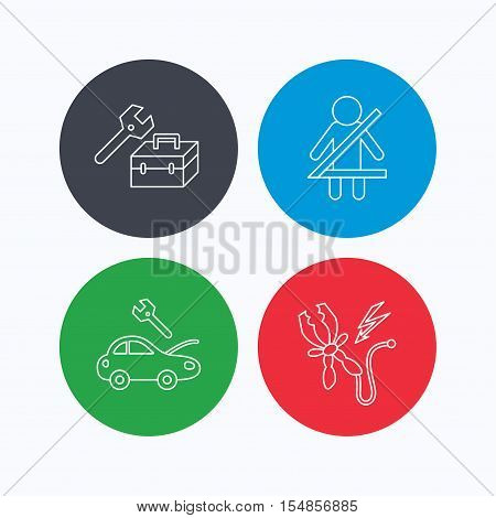 Repair, battery terminal and car service icons. Fasten seat belt linear sign. Linear icons on colored buttons. Flat web symbols. Vector