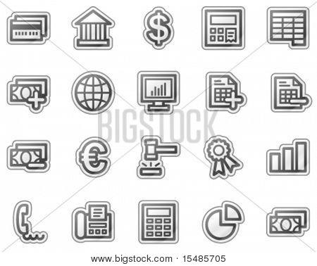 Banking web icons, grey sticker series