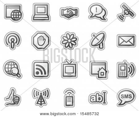 Internet communication web icons, grey sticker series