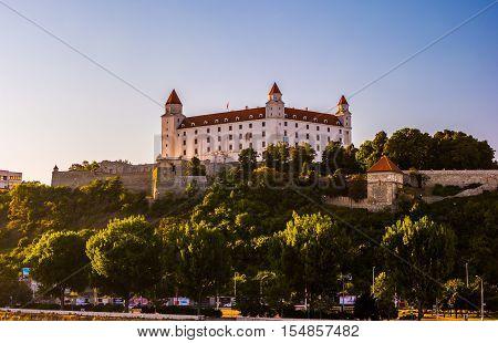 Bratislava castle in capital city of Slovak republic. Architectural theme. Cultural heritage. Travel destination. Beautiful place. Seat of power.