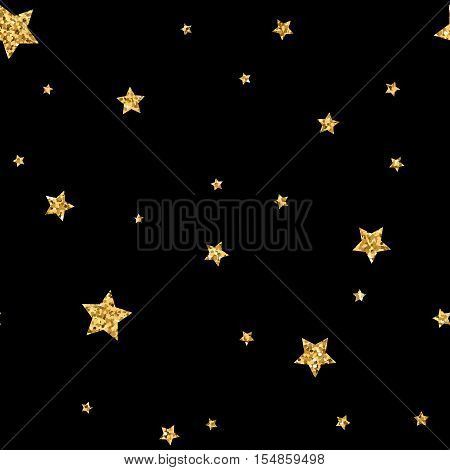 Stars seamless pattern gold and black retro background. Abstract bright golden design for wallpaper christmas decoration confetti textile wrapping. Symbol of holiday. Vector illustration