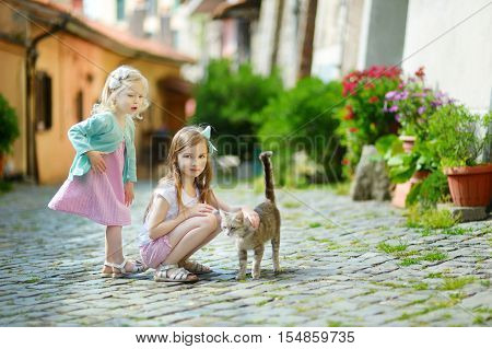 Two Adorable Little Sisters And A Cat