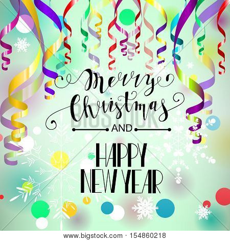 Merry Christmas and Happy New Year card. Colorful paper streamers and confetti. Retro vector illustration. Place for your text. Design for poster, invitation, gift certificate