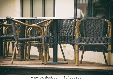 Wicker Furniture At Cafes On The Street, Wicker Chairs, Outdoor Furniture